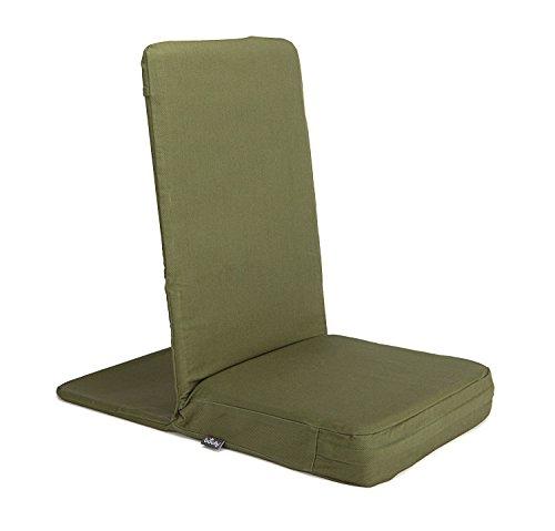 MANDIR Bodenstuhl mit gepolsterter Rückenlehne, Meditationsstuhl mit extra-dickem Sitzkissen für Seminar-Häuser, Meditation, bodennahes Arbeiten (Standard, dusty green)
