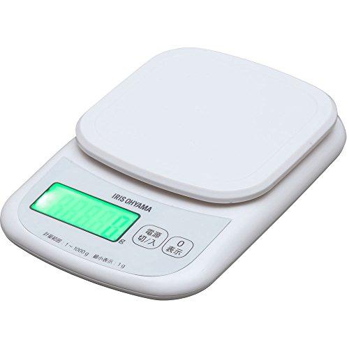 アイリスオーヤマ キッチンスケール デジタルタイプ はかり 2kg用 0.1g ホワイト バックライト付 料理 PKC-...