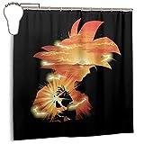 GSEGSEG Cortina de ducha de tela de poliéster impermeable con diseño de Dragon Ball Z Goku Sunset, cortina de baño decorativa con ganchos, 182,88 x 182,88 cm