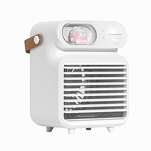 Portable Air Cooler, Air Cooling Fan and Humidifier, Purifier and Aroma Diffuser,Personal Air Cooler with 3 Adjustable Wind Speeds & LED Lights,Perfect for Home and Office
