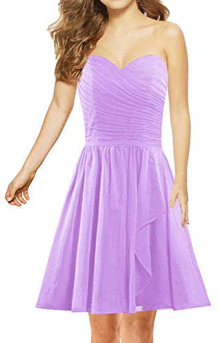 ANTS Women's Sweetheart Short Bridesmaid Dresses Chiffon Wedding Party Dress Size 16 US Lilac
