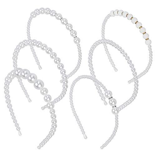 Hysagtek 6 Stück Braut Haarschmuck Faux Perle Strass Haarband Braut Stirnband Hochzeit Haarschmuck für Frauen Mädchen