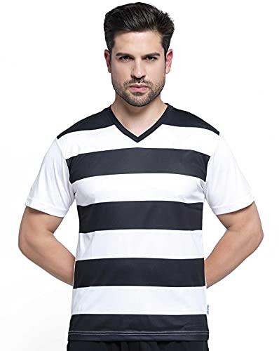 JHK T-SHIRT Camiseta de rayas horizontales de fútbol para hombre con cuello de pico (Bicolor: Negro y Blanco) Teamwear MAN Celtic CELTICTSA (L)