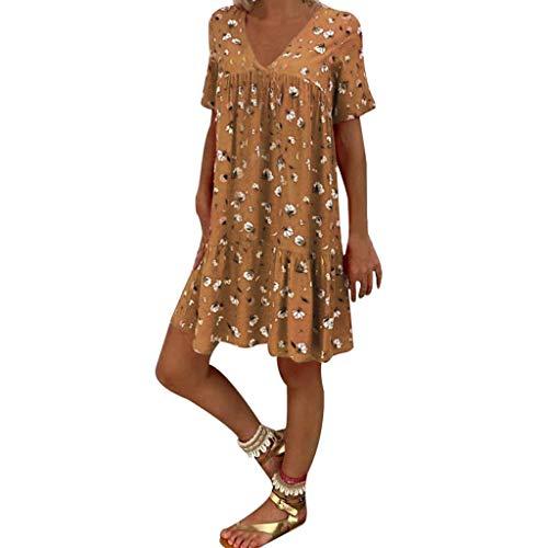 Fcostume Sommerkleid Damen V-Ausschnitt Strandkleider Drucken A-Linie Kleid Boho Knielang Kleid Kurzarm Kleid Ohne Zubehör
