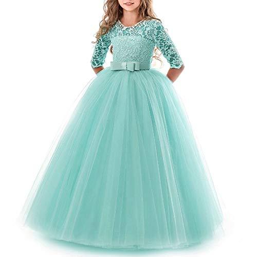 TTYAOVO Mädchen Festzug Ballkleider Kinder Spitze Gestickte Prinzessin Hochzeit Kleid Größe (160) 11-12 Jahre Grün 1