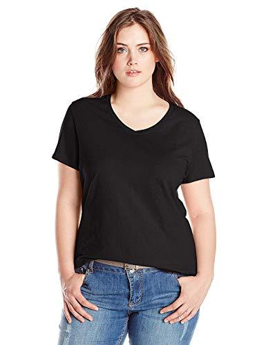 Just My Size Women's Plus-Size Short Sleeve V Neck Tee, Ebony, 1X