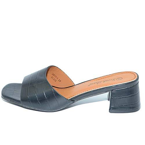 Sandalo Donna Sabot Nero Pitonato A Punta Quadrata con Fascetta E Tacco Comodo Anni 30 4 CM Moda Chic (39 EU)