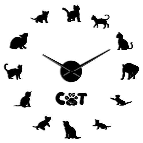 RRBOI Drôle Egyptien Mau Cat Graphique 3D DIY Horloge Murale Chaton Race Animal Miroir Surface Acrylique Horloge Montre Pet Shop Décoration Murale 47inch (Noir)