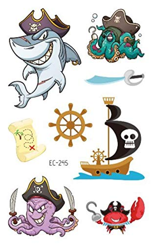 5pcs Waterproof Shark Fake Temporary Tattoo Sticker Kids Stickers Lovely Fun Ocean Party Children Stickers Tattoo Tatouage Enfant
