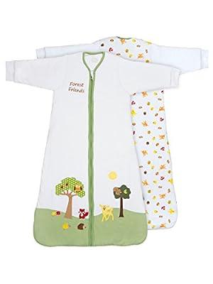 Slumbersac Forest Friends - Saco de dormir de invierno para bebé (manga larga, 3.5 tog, varias tallas: 0 meses a 6 años), diseño de amigos del bosque