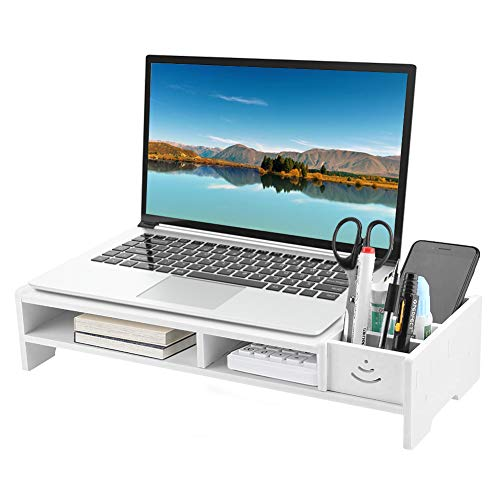 Soporte Monitor - Mesa Elevador Monitor - Soporte Portatil Ordenador 2 Niveles con Cajon - 38,2 x 20 x 10 cm - Blanco