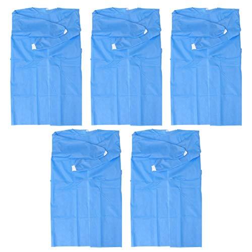 Artibetter 10St Wegwerp Medische Overall Lange Mouwen Bescherming Blauwe Jurk Persoonlijke Veiligheid Spatwaterdicht Isolatie Kleding Voor Vrouwen Mannen