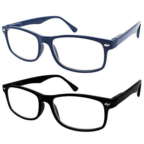 TBOC Gafas de Lectura Presbicia Vista Cansada - [Pack 2 Unidades] Graduadas +1.50 Dioptrías Montura de Pasta Azul y Negra Diseño Moda Hombre Mujer Unisex Lentes de Aumento para Leer Ver de Cerca
