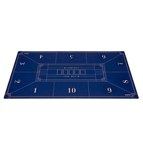 SLOWPLAY Nash Texas Hold'Em Pokermatte I pokertisch mit einem Art Deco L ayout Print, 180x90 cm, mit einer glatten hochwertigen Oberfläche, Lärmminderung und einem Tragrohr für Spielspaß an jedem Ort