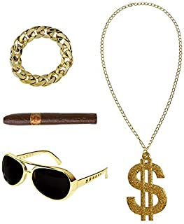 Rapper Gangster Big Daddy DMC chav 80/'s 90/'s Hip Hop Fancy Dress 4 Piece Set