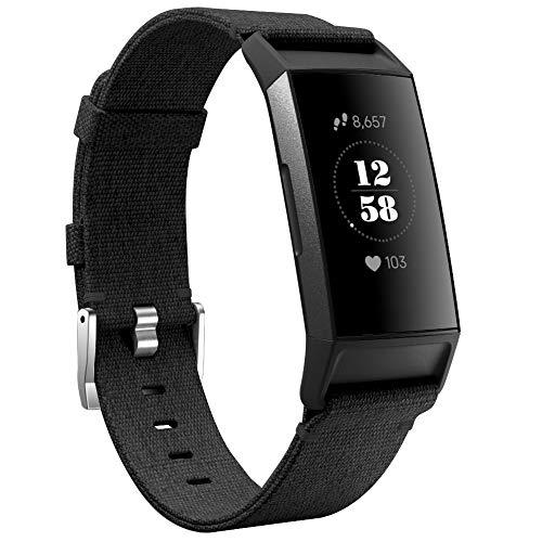 KIMILAR Armbänder Kompatibel mit Fitbit Charge 4 / Charge 3 Armband Stoff, Schnellspanner Nylon Ersatzband Armbänder für Charge 4/3/SE Fitness Tracker -Schwarz