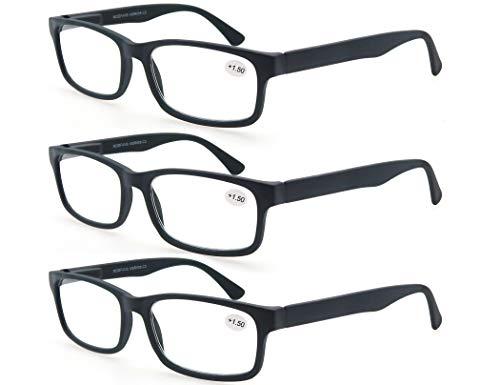 MODFANS (3 Pack) Lesebrille 2.75 Herren/Damen,Gute Brillen,Hochwertig,Rechteckige,Komfortabel,Super Lesehilfe,fur Manner und Frauen,(3 Schwarz)
