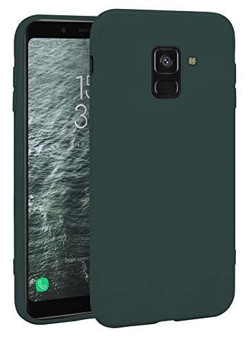 MyGadget Silikon Hülle für Samsung Galaxy A8 (2018) - robuste Schutzhülle TPU Hülle Slim Silikonhülle Back Cover Ultra Kratzfest Handyhülle - Matt Olivgrün