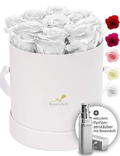 Rosenlieb Rosenbox mit 9 Infinity Rosen (3 Jahre haltbar)   Echte konservierte Blumen   Flowerbox Inklusive Grußkarte (Medi Bella Weiß, Weiß)