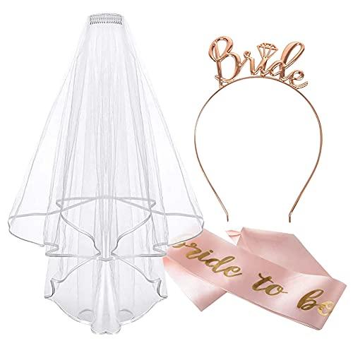 Cinta y velo, accesorios de despedida de soltera con tiara para novia...