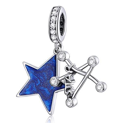 ZiFouDou Abalorios de Plata de Ley 925 Compatible con Pulsera Pandora Dijes Originales Charms Colgantes- Estrella Brillante