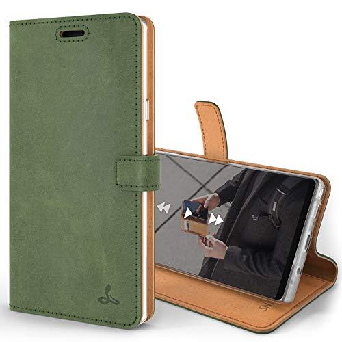 Snakehive Note 9 Handy Schutzhülle/Klapphülle echt Lederhülle mit Standfunktion, Handmade in Europa für Note 9 - (Grün)