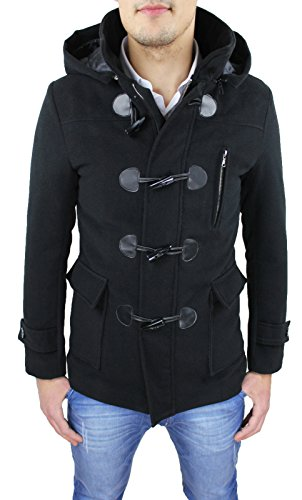 Cappotto Montgomery Uomo Nero Casual Invernale Giacca Soprabito Giaccone con Bottoni alamaro (L)