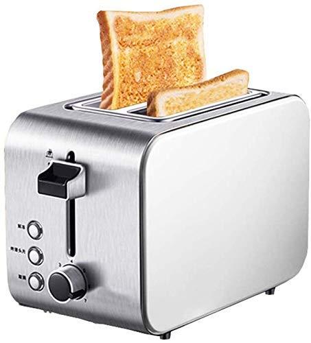 Tostadora de 2 rebanadas, acero inoxidable tostador compacto pan tostado Pan Con 6 Browning Descongelar Recalentamiento botón Cancelar extraíble Bandeja de residuos SLONGS (Color : Silver)