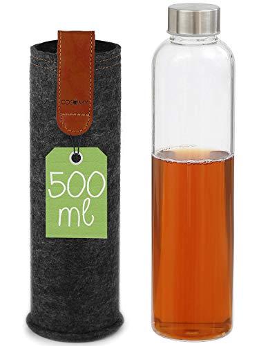 Botella de Cristal de 500 ml - Con Funda de Fieltro - A Prueba de Fugas - Apta para Lavavajillas - Para Agua, Té, Zumos