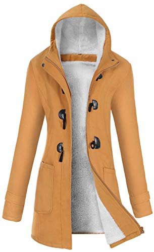 VOGRYE Womens Winter Fashion Outdoor Warm Wool Blended Classic Pea Coat Jacket (FBA) (L, Khaki-Thicker)