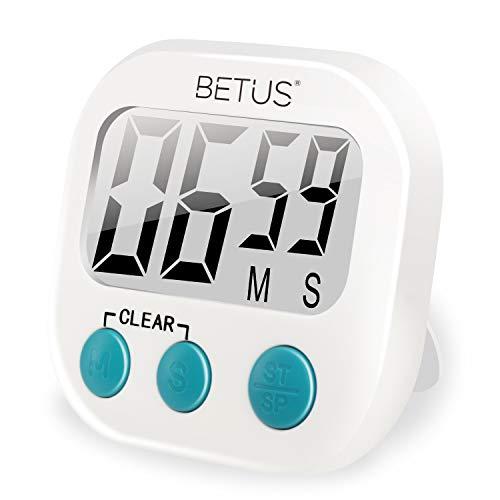Betus Timer da Cucina Digitale - Grandi Numeri, Funzionamento Semplice - Supporto Magnetico o Supporto da Tavolo - Cronometro Conta su e Giù per Cucin