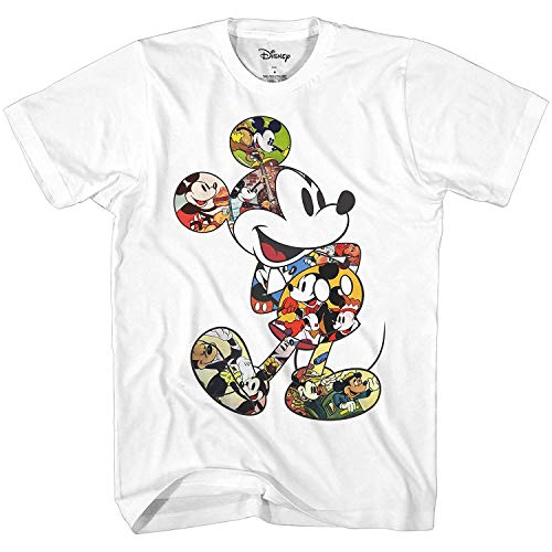 Mickey Mouse Scene Me Vintage Classic Disneyland World Men's Adult Graphic T-Shirt (White, Large)