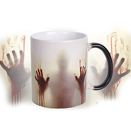 GZSC Reutilizable Taza de café Walking Dead Color Changing Coffee Mug 350ml Diseño de Manos ensangrentadas Tazas de café mágicas sensibles al Calor Taza de Viaje Creativa
