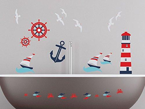 GRAZDesign Wandsticker Set Badezimmer, Maritim Leuchtturm Anker Schiffe Steuerrad Fische