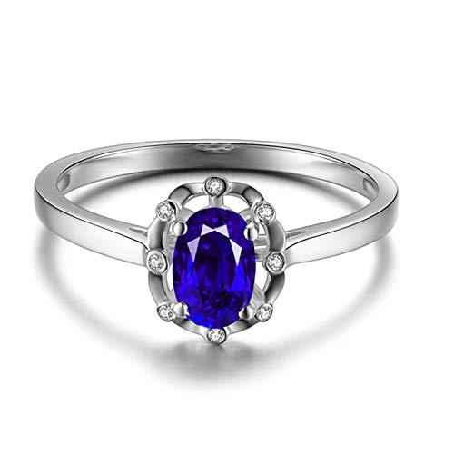 KnSam - Anillo de Oro Blanco 750 para Mujer, 18 Quilates, Ovalado, 0,5 Quilates, Sri Lanka, Zafiro, 0,016 Quilates, Diamante sudafricano, Oro Blanco