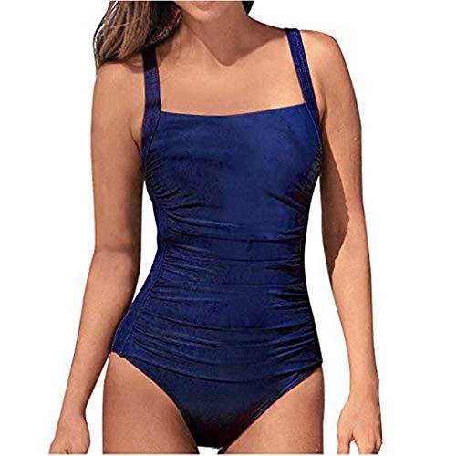 Junjie Frauen Sommer Backless Sexy Feste Badebekleidung Beachwear Siamesischer Schlankheits Badeanzug Raffung Einteiler High Neck Bademode Strandmode