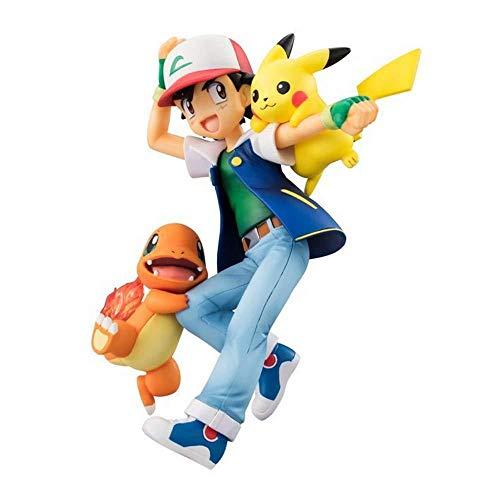 YYZZ Pokémon: Ash Ketchum y Pikachu y Charmander PVC Anime Figura de Acción Estatua Juguetes Modelo Regalo para Niños