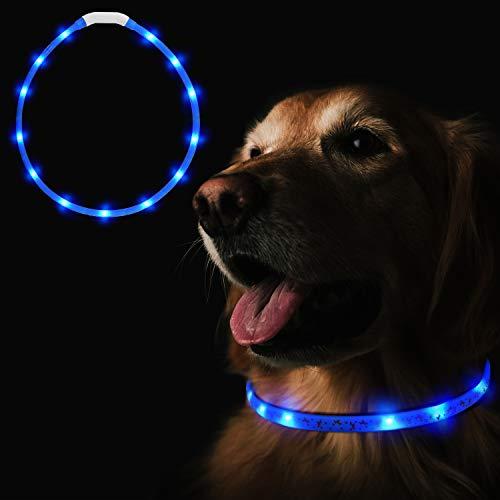 Heatigo LED Halsband Fuer Hunde aufladbar, Night Safety leuchthalsband Hund USB,3-Modus Flicker einstellbare Länge für alle Arten von Hund und Katze Sicherheitskragen geeignet (Blau)