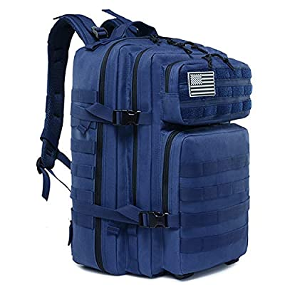 LHI Military Tactical Backpack for Men and Women 45L Army 3 Days Assault Pack Bag Large Rucksack with Molle System - Blue
