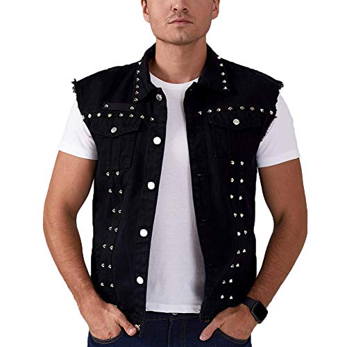Rock Punk Denim Vest Jacket - Men's Motorcycle Jeans Waistcoat with Metal Rivets Battle Vest (Black, Big Tall Version, S)