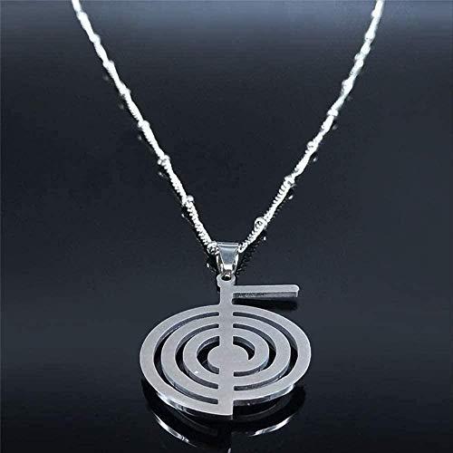 MNMXW Mode Whirlpool Opal Edelstahl Kette Halskette Frauen Silber Farbe Statement Halskette Schmuck 50cm