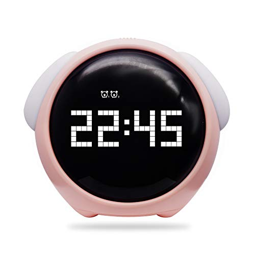 Vihimi Digital Alarm Clock with Wake Up Light, Dual Smart Bedside Alarm Clock,Night Light with Snooze Function,Voice Control and Chargable, Best Gift for Teens