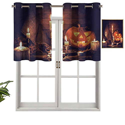 Hiiiman Blackout Curtain Valances Thermal Insulated Short Grommet Curtain Panels Wood Planks and Candles, Set of 1, 42'x18' Small Half Window Valances for Bedroom