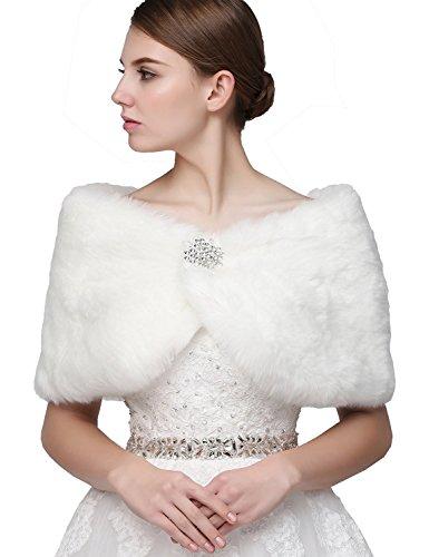 Sarahbridal Women's Faux Fur Wrap Cape Stole Shawl Bolero Jacket Coat Shrug for Winter Wedding Dress White