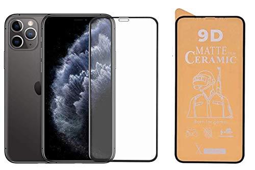 PR Smart® iPhone 12 Pro Full Glue 9D Ceramic Film Matte Edge To Edge Full Screen Protector For Apple iPhone 12 Pro (Not a Tempered Glass) (Transparent Glass Black Border)