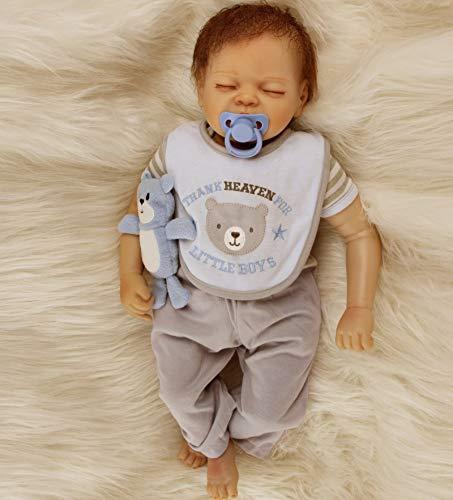 ZIYIUI Muñecas Reborn Bebé 22 Pulgadas 55cm Realista Vinilo de Silicona Suave Reborn Bebé Niño Recién Nacido Ojos...