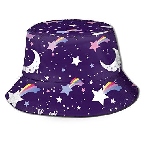 Sombrero de Cubo Unisex Unicornio de ala Ancha Sombrero de Pescador Gorra de Cubo para Hombre Mujer Negro-96
