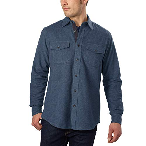 Grizzly Mountain Men's Flannel Chamois Shirt (XL, Blue)