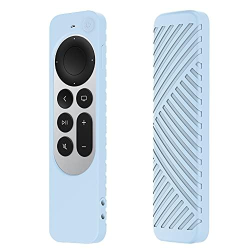 TAIYANYU Carcasa de silicona para Apple TV 4K, HD 2ª generación, adecuada para Apple TV, a rayas, todo incluido, duradero, a prueba de golpes, antideslizante, color azul