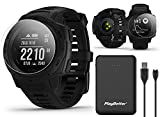 Garmin Instinct Tactical (Black) Outdoor GPS Watch Power Bundle   with HD Screen Protector Film Pack & PlayBetter Portable Charger   US Military 810G, Reinforced Housing, Stealth Mode, HR, TracBack